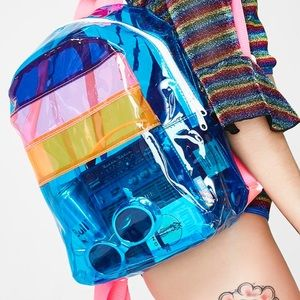 Handbags - 🌈 Clear 🎒 backpack transparent rave beach 🏝